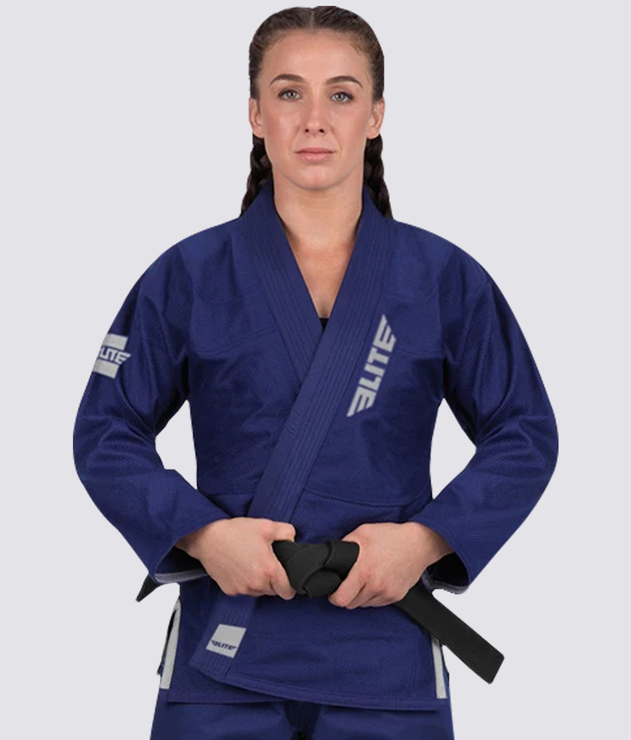Elite Sports Lightweight Preshrunk Antibacterial Navy Women Brazilian Jiu Jitsu BJJ Gi With Free White Belt