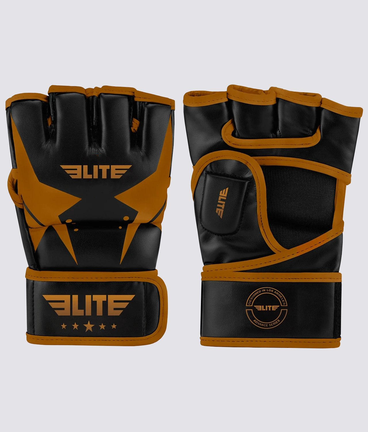Elite Sports Pro style Black/Copper Half Mitts Grappling Gloves