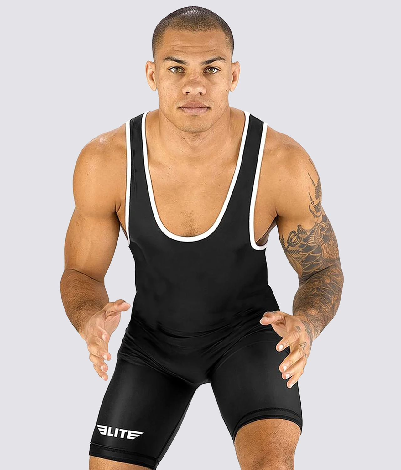 Elite Sports Standard Series Antibacterial Black Wrestling Singlets