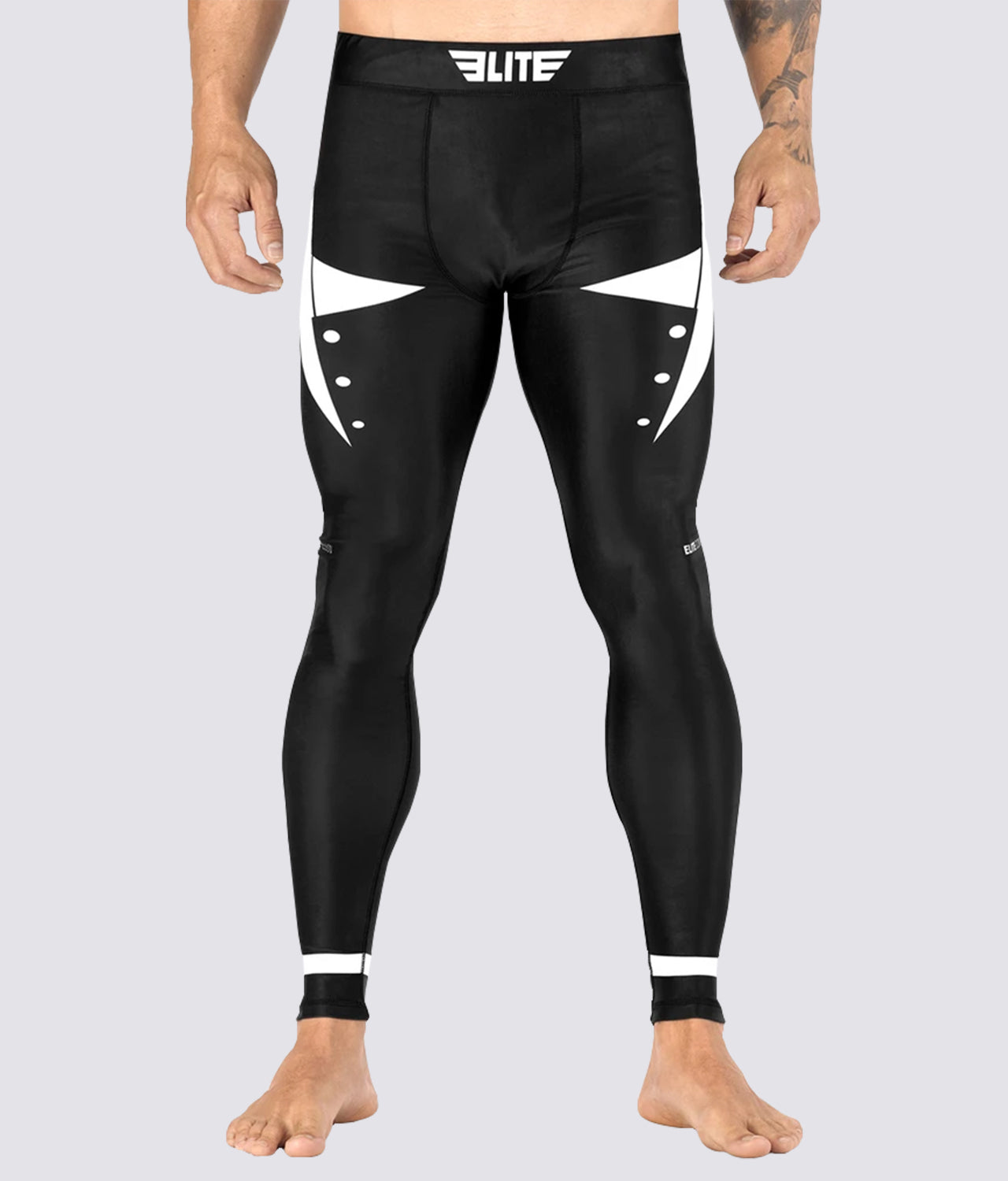 Elite Sports Star Series Lightweight Black/White Advance Compression Muay Thai Spat Pants