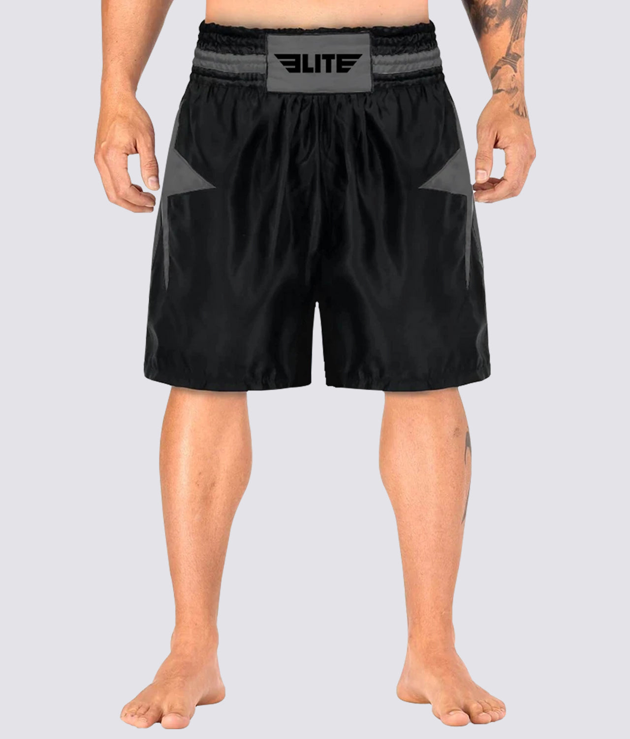Elite Sports Star Series Sublimation Extreme Softness Black/Gray Boxing Shorts