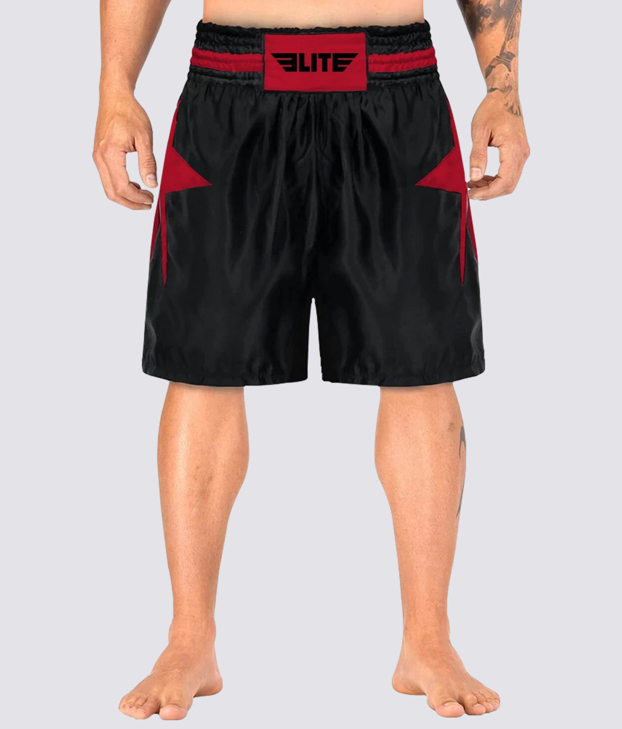 Elite Sports Star Series Sublimation Extreme Softness Black/Red Boxing Shorts