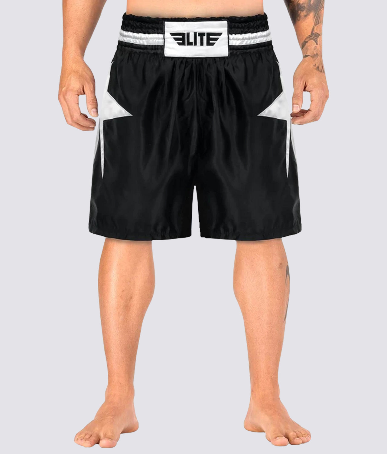 Elite Sports Star Series Sublimation Extreme Softness Black/White Boxing Shorts