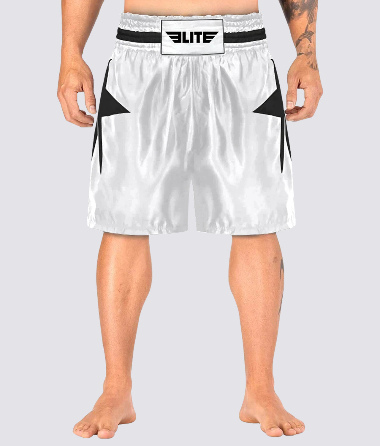 Elite Sports Star Series Sublimation Extreme Softness White/Black Boxing Shorts