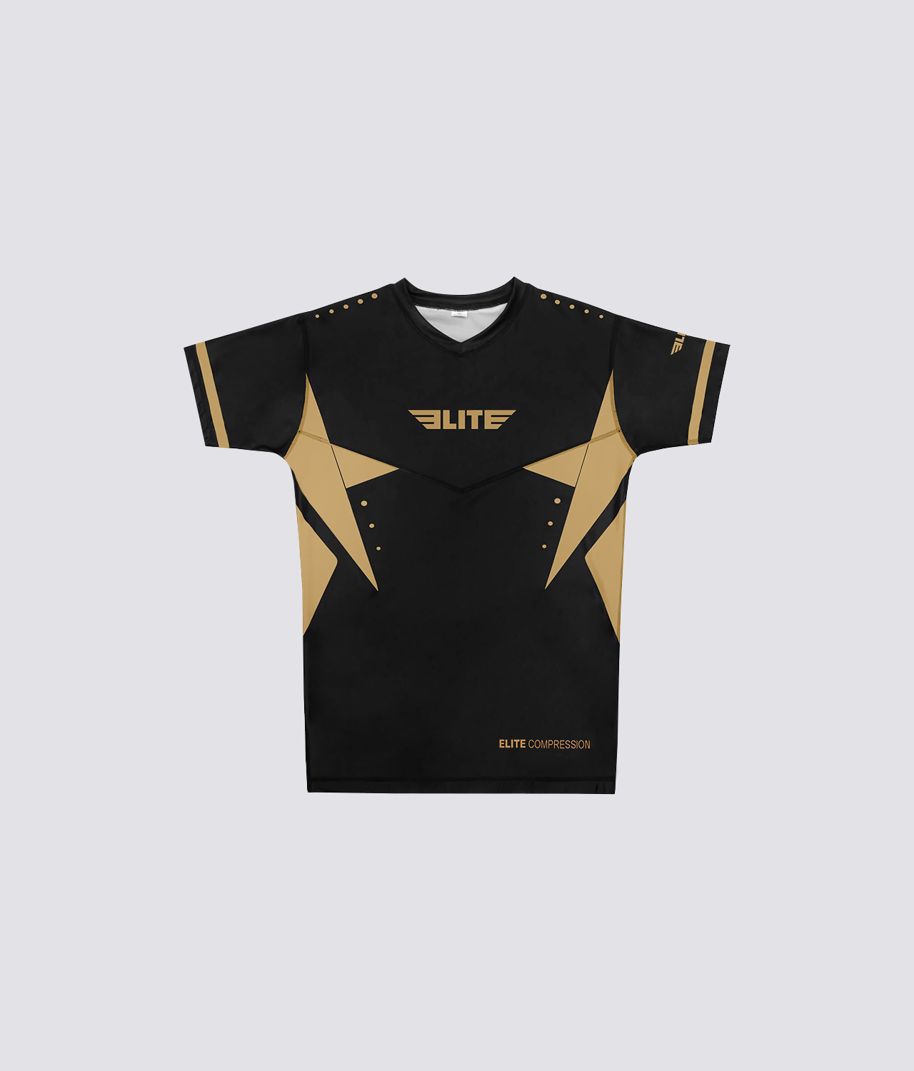 Elite Sports Star Series Sublimation Black/Gold Short Sleeve MMA Rash Guard