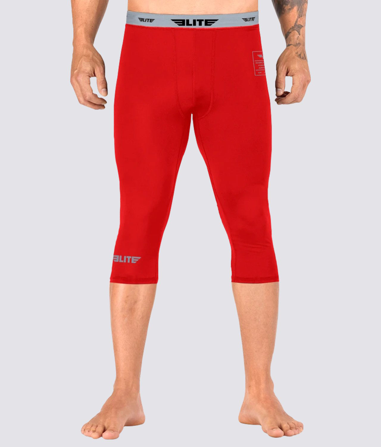 Elite Sports Three Quarter Red Compression Judo Spat Pants