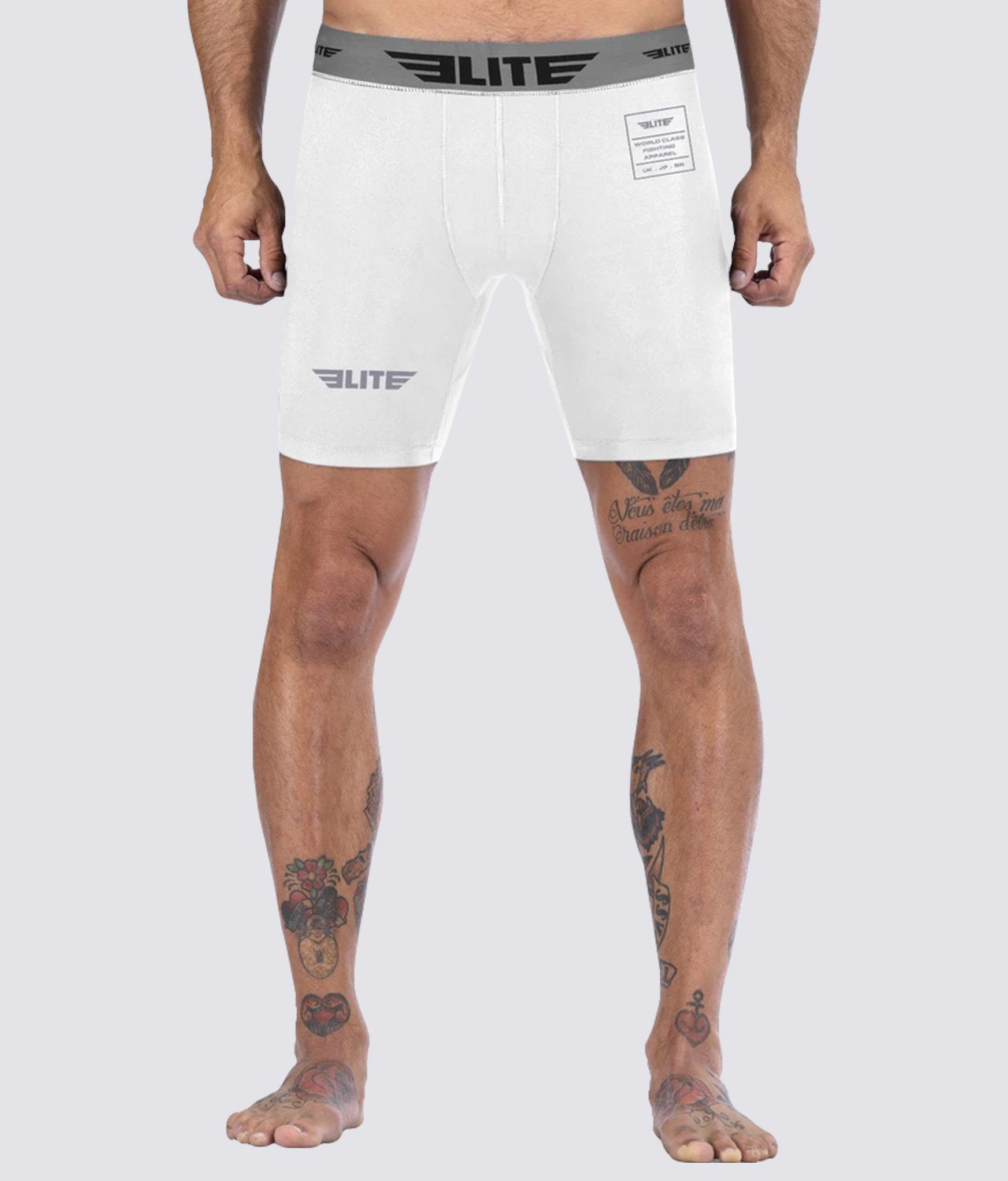 Elite Sports White Compression Muay Thai Shorts