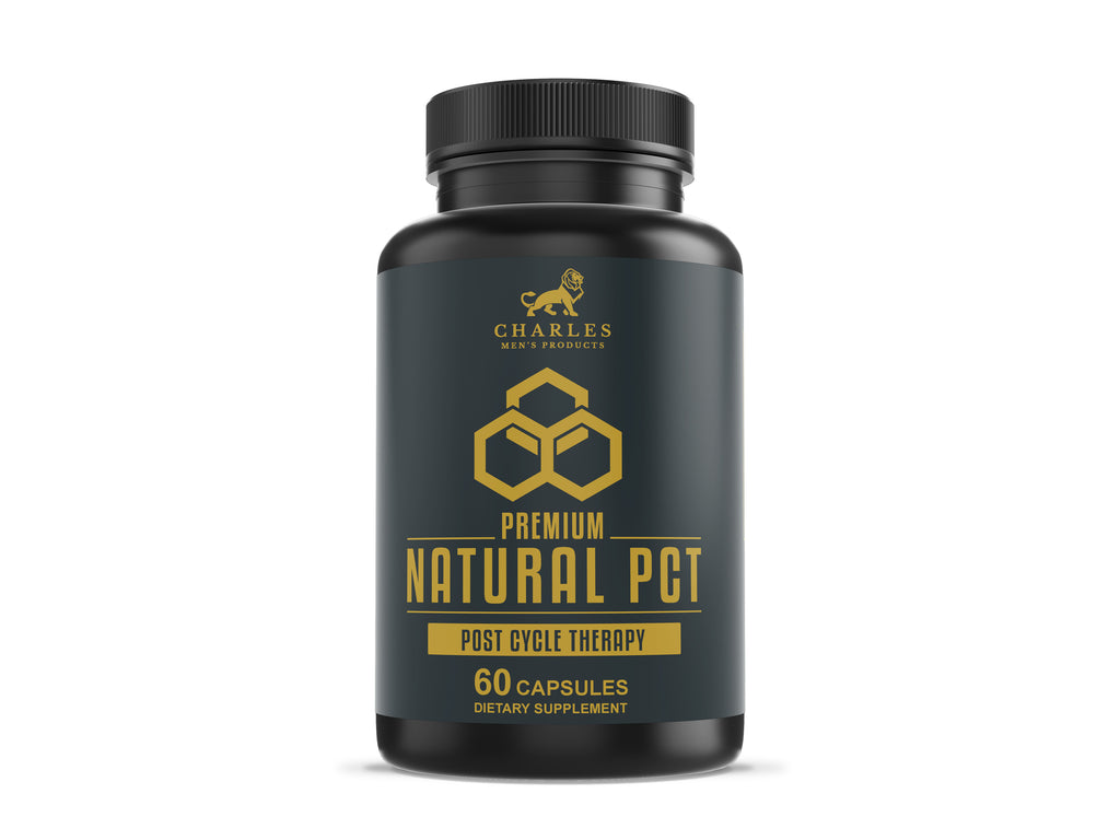Charles Men's Products Natural PCT, 60 capsules. The intended benefits of this supplement include testosterone boosting support, hormone level regulation, recovery from strenuous activity, muscle mass support and liver health.