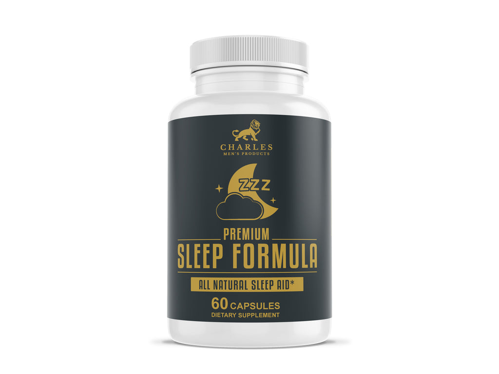 Charles Men's Products Premium Sleep Formula, 60 capsules.  The intended benefits of this supplement include relaxing and calming effects, and to assist in anxiety reduction before bed, and act as a natural sleep aid.