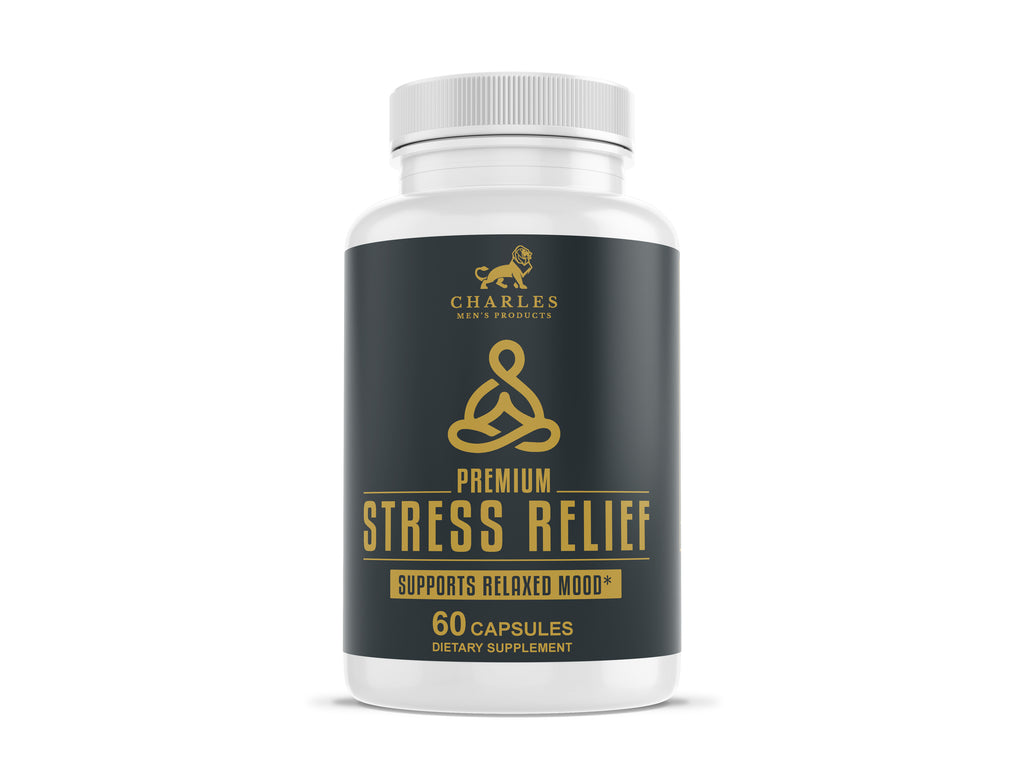 Charles Men's Products Premium Stress Relief, 60 capsules. The intended benefits of this supplement include relaxing and calming effects, support nerve health, and reduce anxiety.