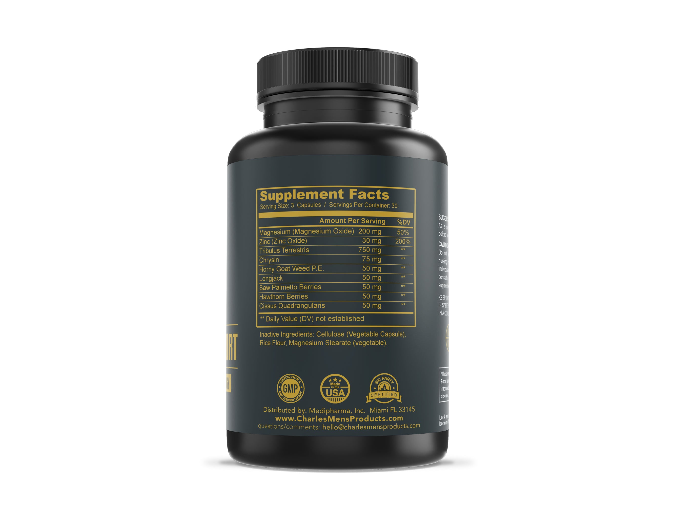 Charles Men's Products Premium Tesosterone Support, 90 capsules. The intended benefits of this supplement include testosterone boosting support, improved muscle growth, better overall bodybuilding results.
