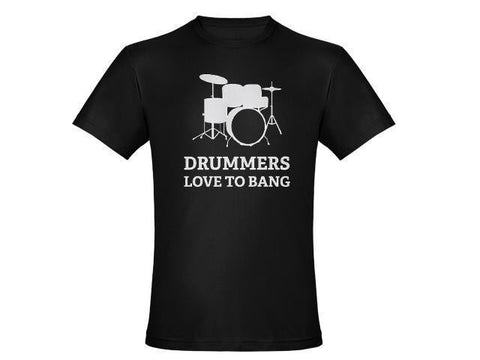 Drummers Love to Bang Black Tshirt With White Print