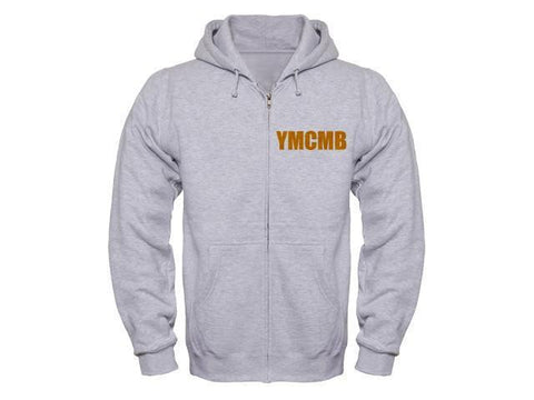 Ymcmb Zip Up Hoodie Grey With Yellow Print