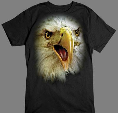 Bald Eagle Face tshirt Black Tshirt
