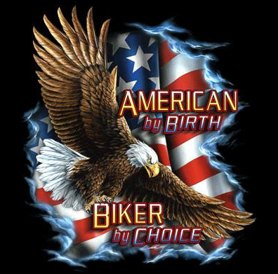American By Birth Biker Tshirt