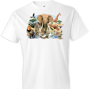 African Oasis White Tshirt With Oversized Print