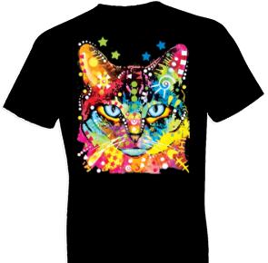 Neon Blue Eyes Cat Tshirt with Large Print