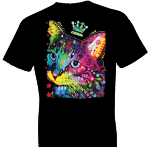 Neon Thinking Cat Crowned Tshirt