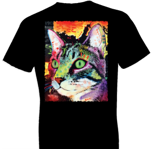 Neon Curiousity Cat Tshirt