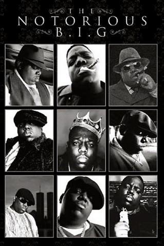Notorious B.I.G. B&W Montage Poster
