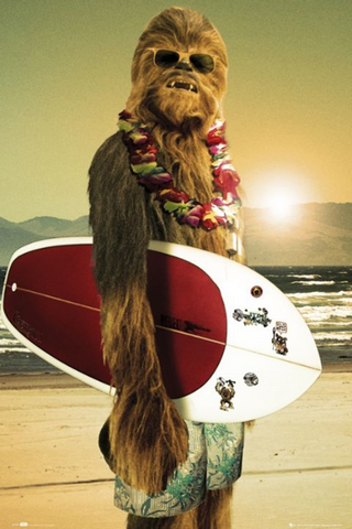 Star Wars Chewbacca Surf Board Poster