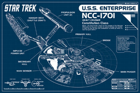 Star Trek Enterprise Blue Print Poster