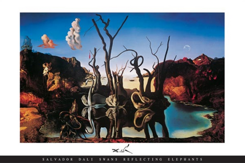 Dali Swans Reflecting Elephants Poster