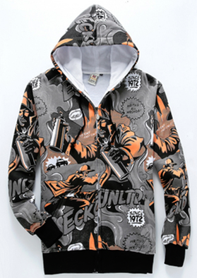 Orange Allover 3D Print Hip Hop Hoodie