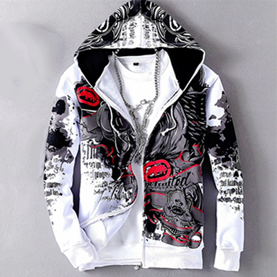 White and Red Allover 3D Print Hip Hop Hoodie