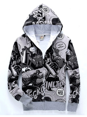 Black and White Allover 3D Print Hip Hop Graffiti Hoodie