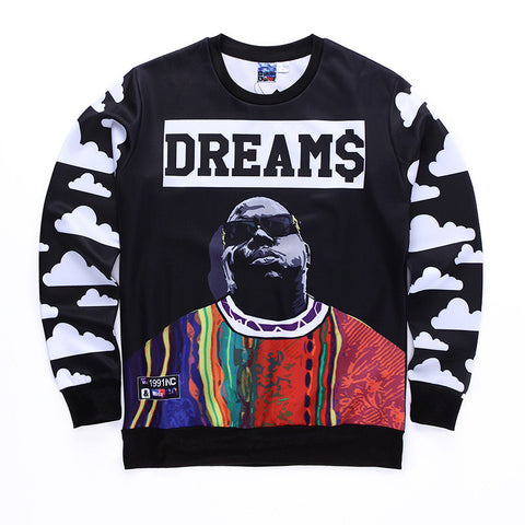 Biggie Smalls Dream$ Allover Print Crewneck Sweatshirt