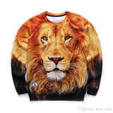 3D Allover Print Lion Face Crewneck Sweatshirt - TshirtNow.net - 2