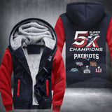 NFL NEW ENGLAND PATRIOTS 5-TIME SUPER BOWL CHAMPIONS THICK FLEECE JACKET