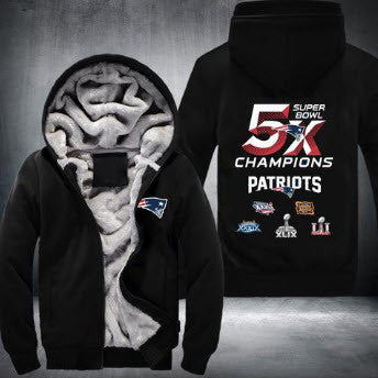 brand new ef836 5a50d NFL NEW ENGLAND PATRIOTS 5-TIME SUPER BOWL CHAMPIONS THICK FLEECE JACKET