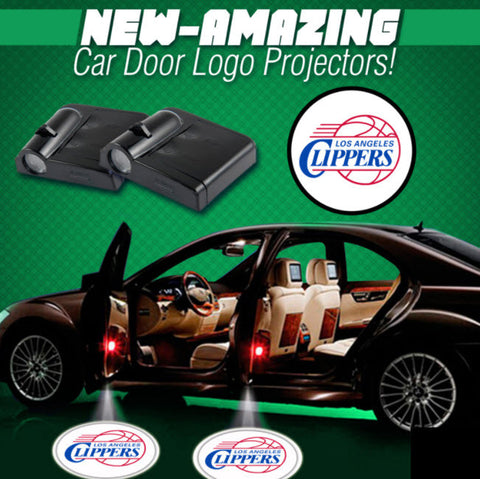 2 NBA LOS ANGELES CLIPPERS WIRELESS LED CAR DOOR PROJECTORS