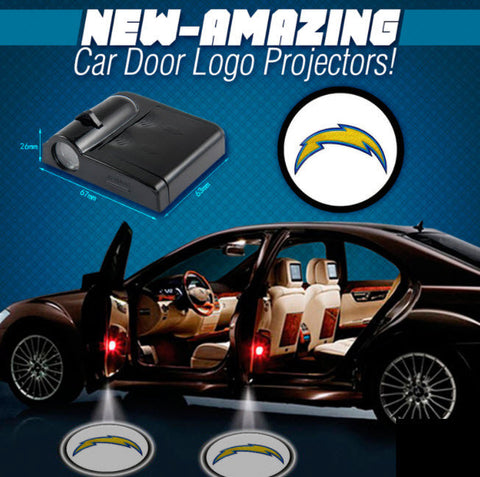 2 NFL LOS ANGELES CHARGERS WIRELESS LED CAR DOOR PROJECTORS