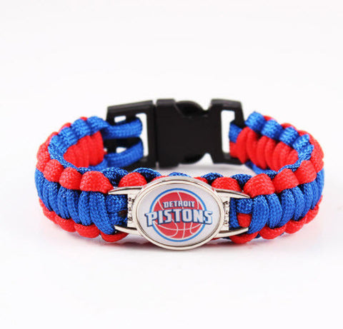 NBA Detroit Pistons Paracord Survival Bracelet