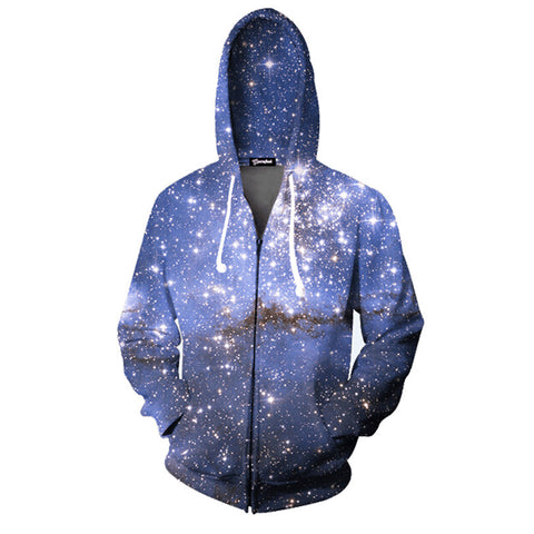 Dark Galaxy Allover 3D Print Zippered Hoodie