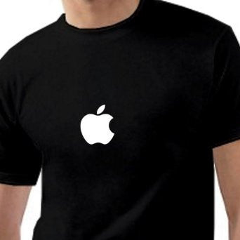 Apple Logo Tshirt Black With White Print