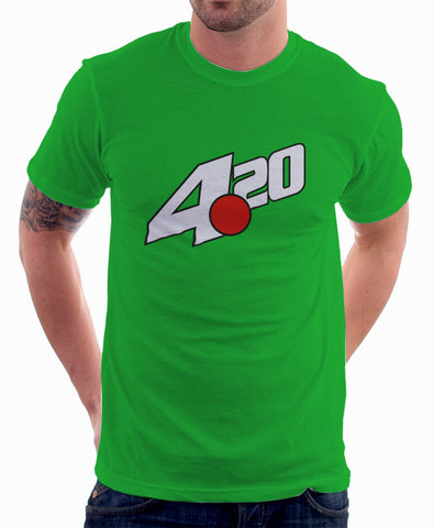 7 Up Logo Parody Spoof Tshirt: 4:20 Logo Kelly Green Colored Tshirt
