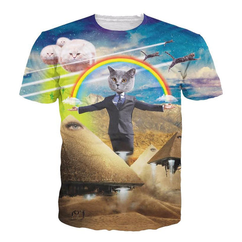 3D Allover Graphic Print Cat Tshirts