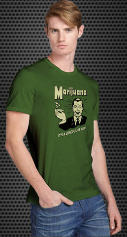 Marijuana It's a lungful of fun Retro Spoof t-shirt: Kelly Green Colored Tshirt