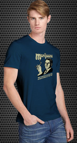 Marijuana: why should glaucoma patients have all the fun? Retro Spoof tshirt: Steel Blue Colored T-shirt - TshirtNow.net - 1