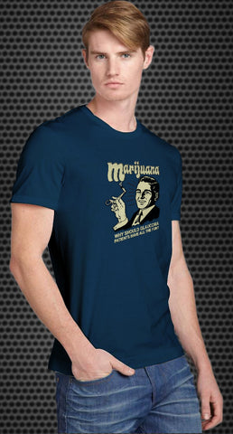 Marijuana: why should glaucoma patients have all the fun? Retro Spoof tshirt: Steel Blue Colored T-shirt