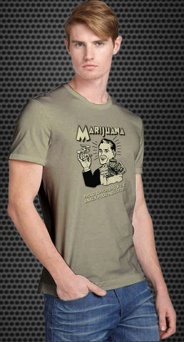 Marijuana: Proud supporters of the snack food industry! Retro Spoof tshirt: Ash Colored T-shirt