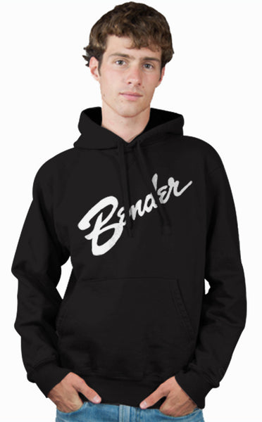 Fender Guitars Logo Parody Spoof Hoodie: Bender Logo White Print on Black Colored Hoodie Hoody Sweatshirt - TshirtNow.net