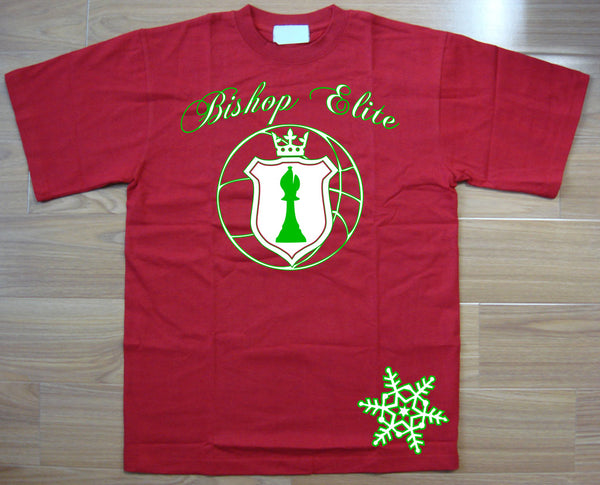 "Bishop Elite ""Logo"" Tshirt: Red With White and Green Print ""Christmas Edition"" - TshirtNow.net"