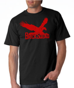 Brick Squad Tshirt: Black With Red Print