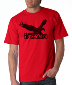 Brick Squad Tshirt: Red With Black Print