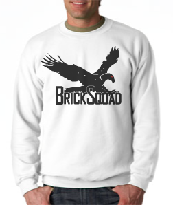 Brick Squad Crewneck: White With Black Print